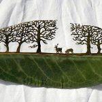 Arte com folhas secas