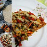 Pizza Integral de Mandiokejo com grão de bico, abobrinha e cenoura