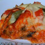 Lasanha vegetariana de pupunha e berinjela